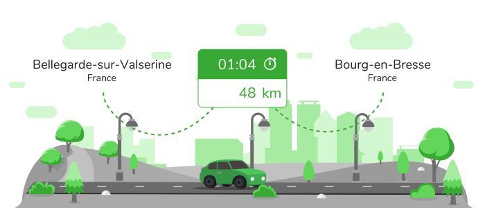 Informations pratiques pour vos covoiturages entre Bellegarde-sur-Valserine et Bourg-en-Bresse
