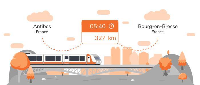 Infos pratiques pour aller de Antibes à Bourg-en-Bresse en train