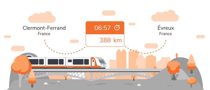 Infos pratiques pour aller de Clermont-Ferrand à Évreux en train