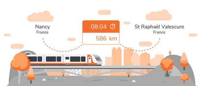 Infos pratiques pour aller de Nancy à St Raphaël Valescure en train
